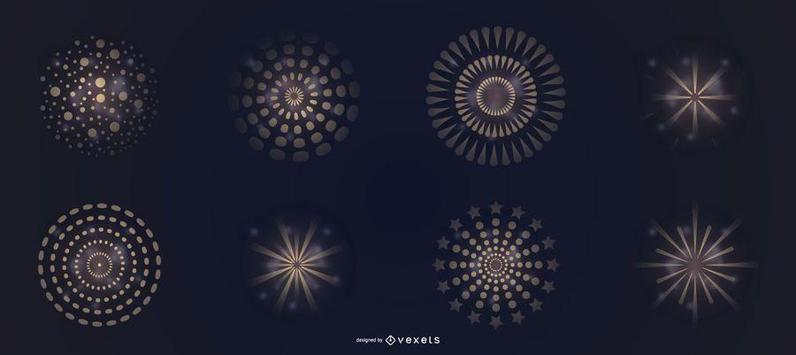 Conjunto de vetores de fogos de artifício gradiente