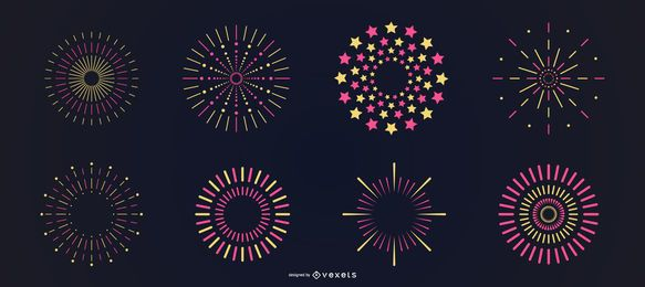 Conjunto de fogos de artifício amarelo rosa