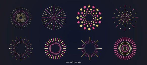 Conjunto de fuegos artificiales amarillo rosa