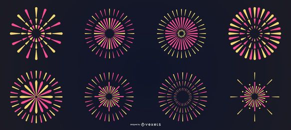 Bright colorful line fireworks set