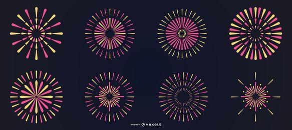 Conjunto de fuegos artificiales de línea colorida brillante