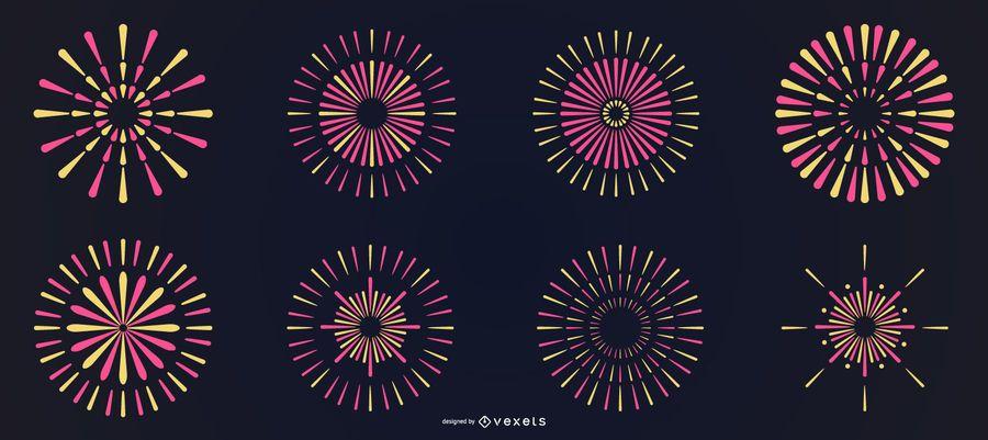 Bright colorful line fireworks set