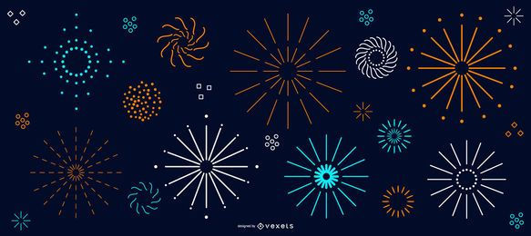 Simple colorful fireworks collection