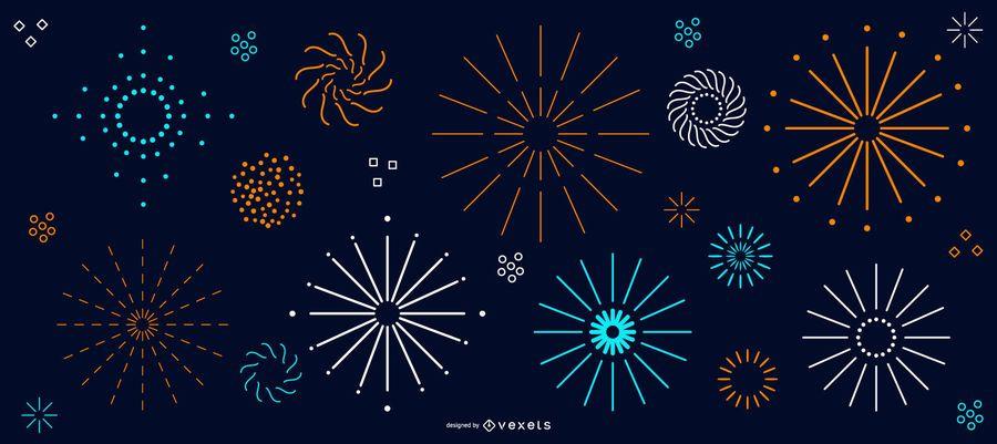 Coleção simples de fogos de artifício coloridos