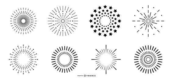 Conjunto de vetores simples de fogos de artifício