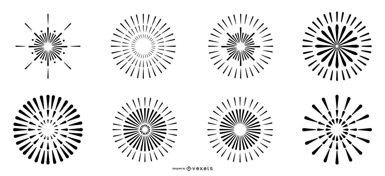 Line fireworks vector set