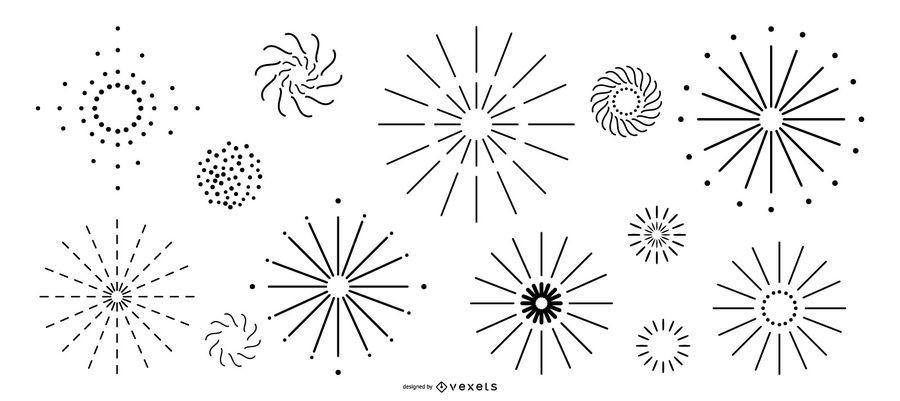 Coleção de fogos de artifício de linha simples