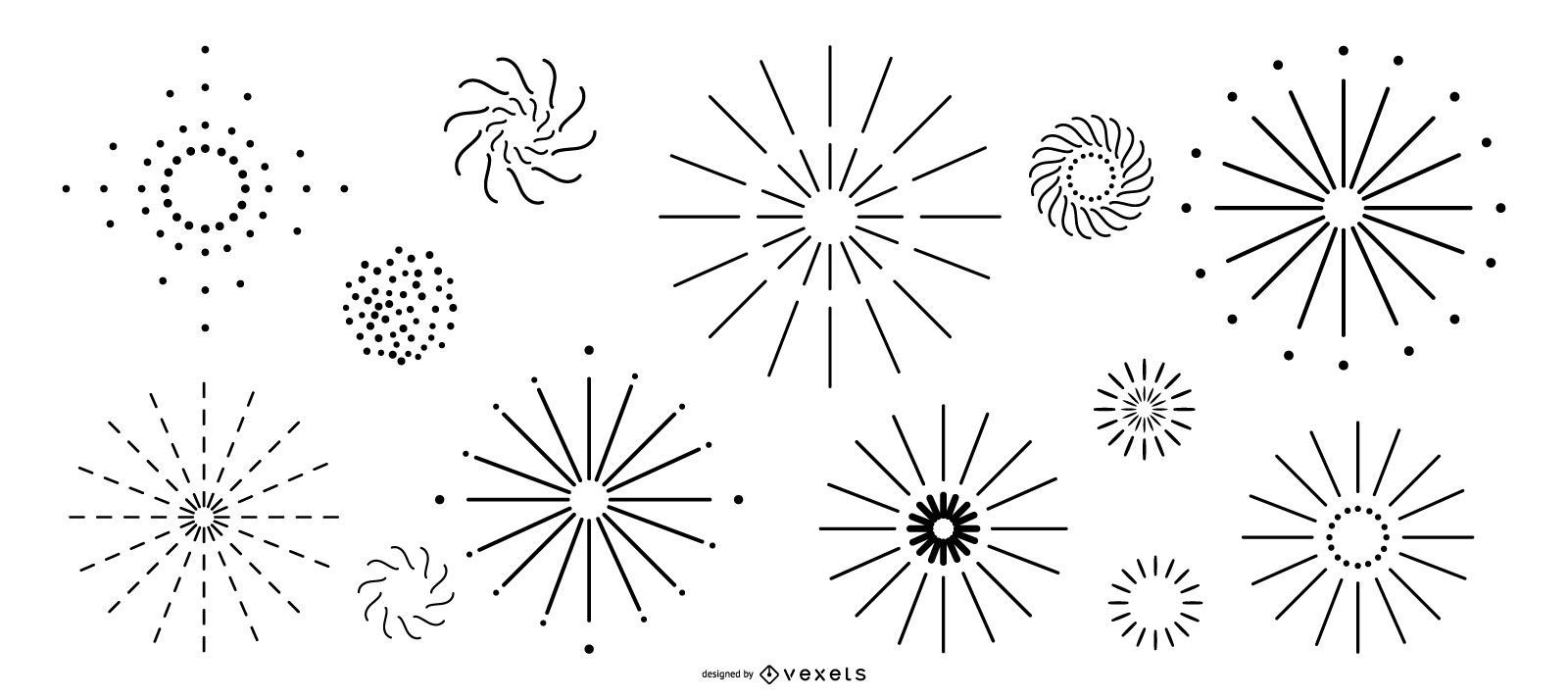 Simple line fireworks collection