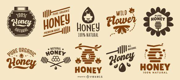 Colección de logotipos de citas de miel
