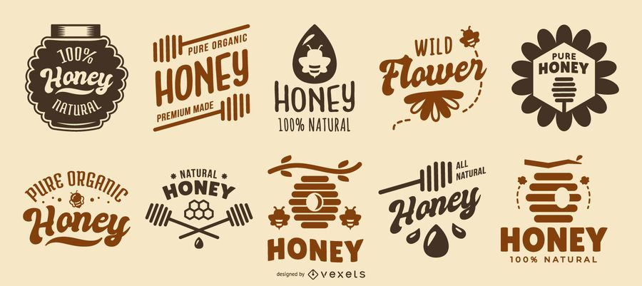 Honey quote logos collection