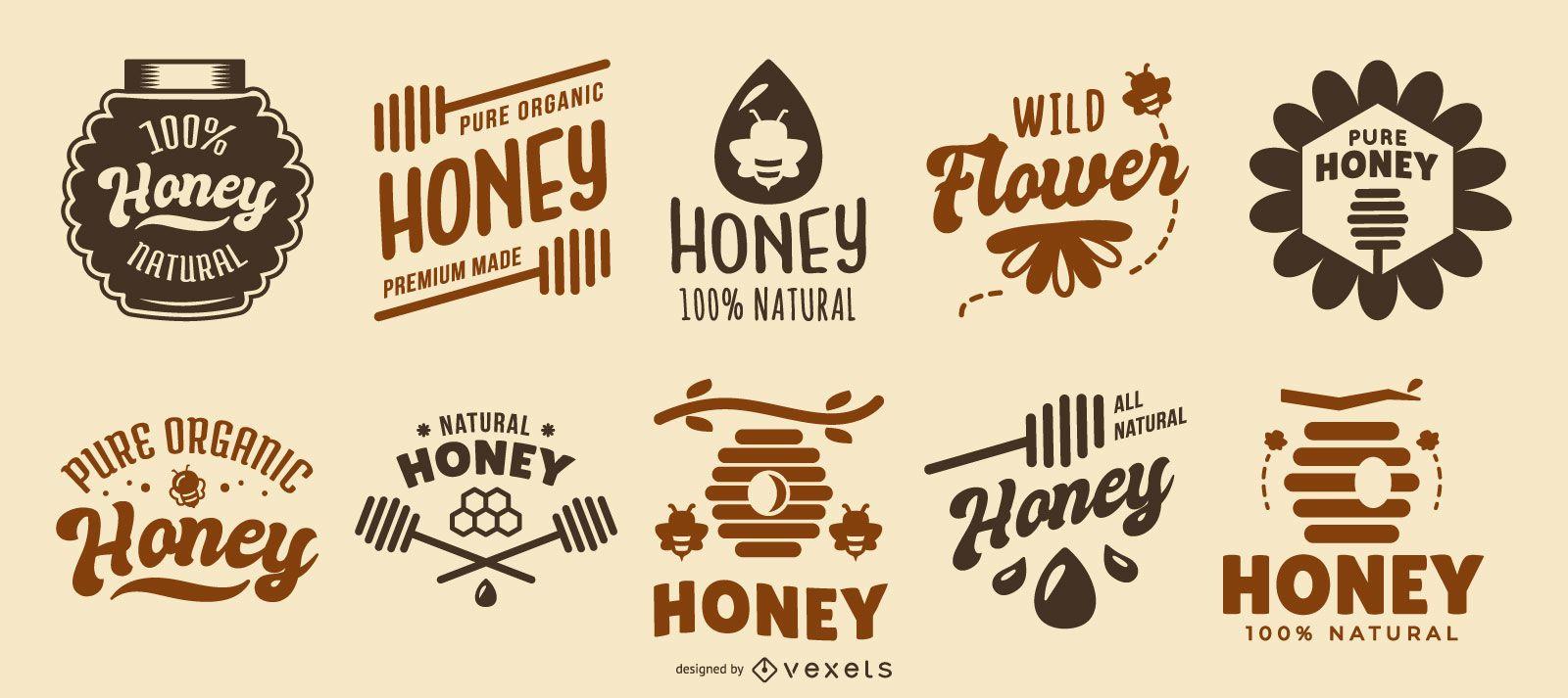 Coleção de logotipos de citações de mel