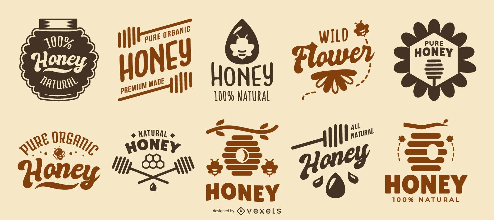 Colección de logos de citas de miel