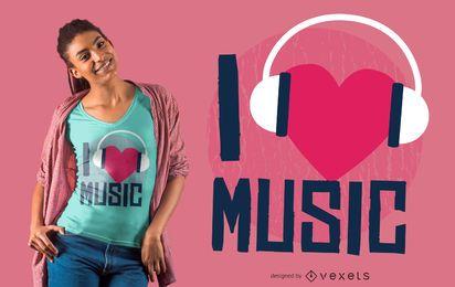Amo el diseño de camiseta de música