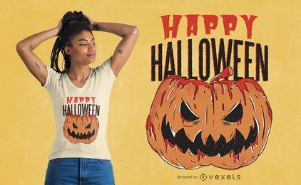 Design de t-shirt do Dia das Bruxas com abóbora sangrenta