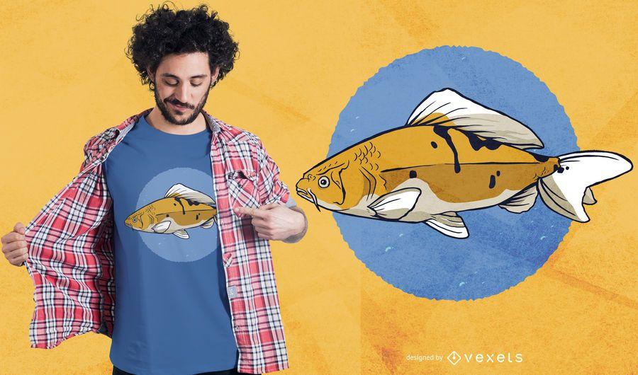 Diseño de camiseta de pez carpa