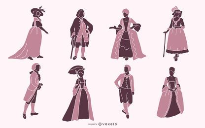 18th Century Aristocratic People Silhouette Pack