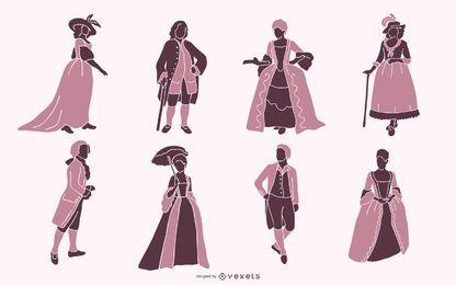 Pack de silueta de personas aristocráticas del siglo XVIII