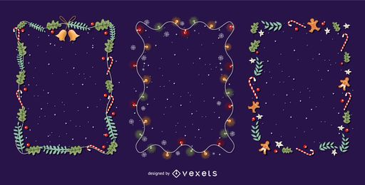 Christmas frames vector set