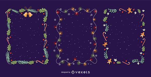 Conjunto de vectores de marcos de Navidad