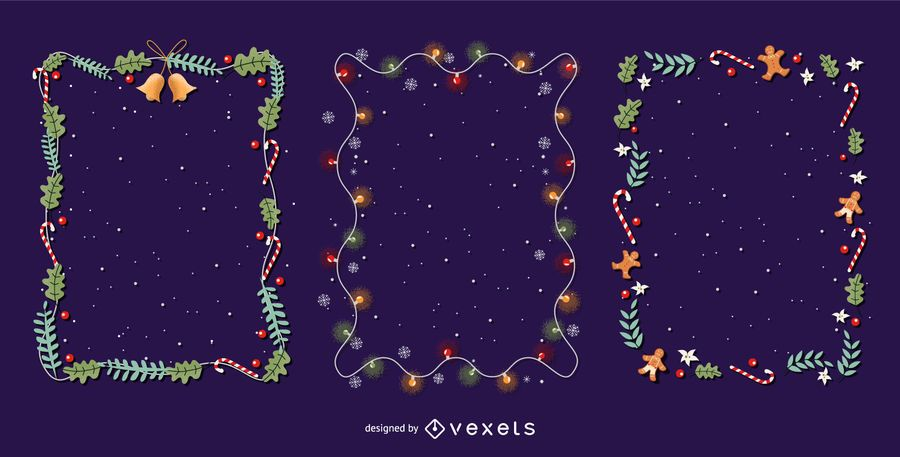 Christmas frames vector set