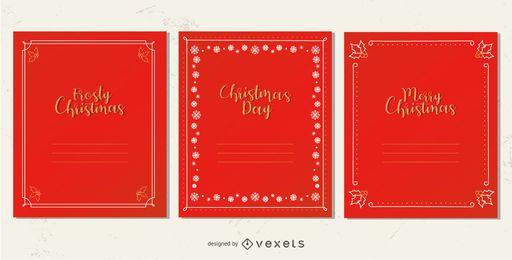 Conjunto de quadros de cartão de Natal elegante