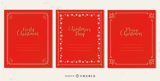 Elegante conjunto de marcos de tarjeta de navidad