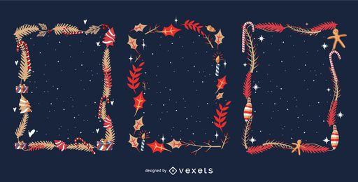 Conjunto de marcos de hojas de Navidad