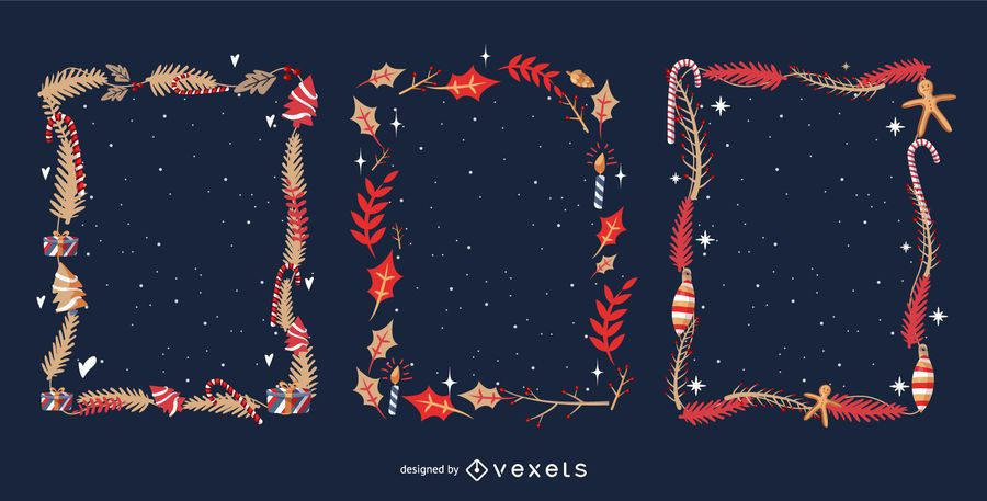 Christmas leaves frames set