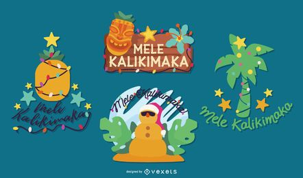 Mele kalikimaka elements set