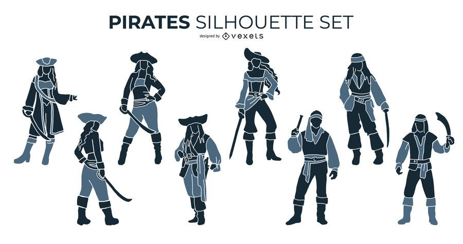 Conjunto de silhueta de piratas