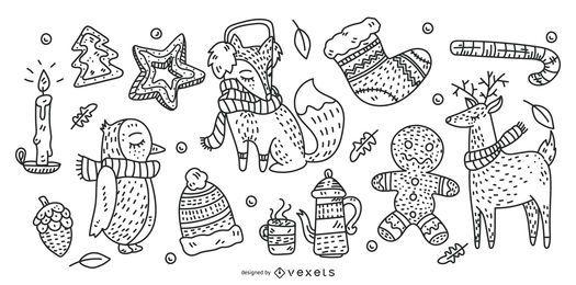 Conjunto de elementos de Natal mão desenhada