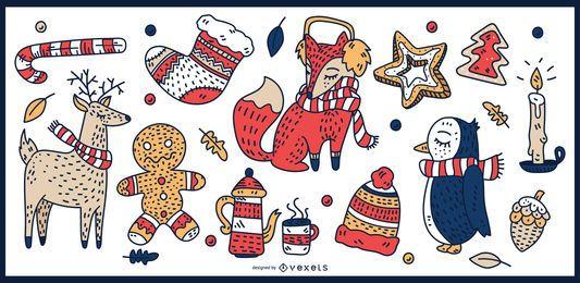 Conjunto de vectores de elementos coloridos de Navidad