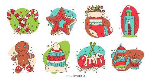 Conjunto de elementos navideños coloridos