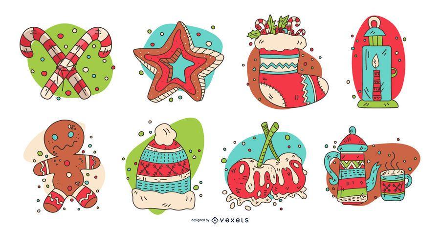 Colorido conjunto de elementos de navidad