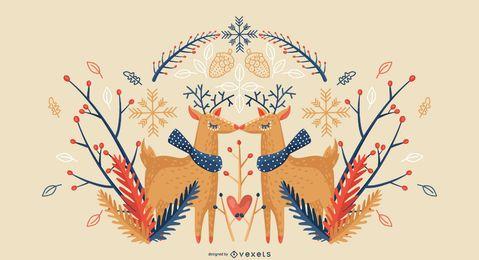 Diseño de fondo de renos de invierno