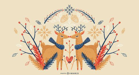 Winter reindeer background design