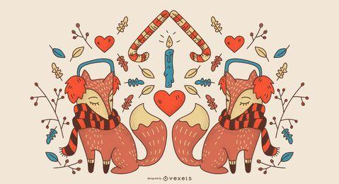 Desenho de fundo do Winter Fox