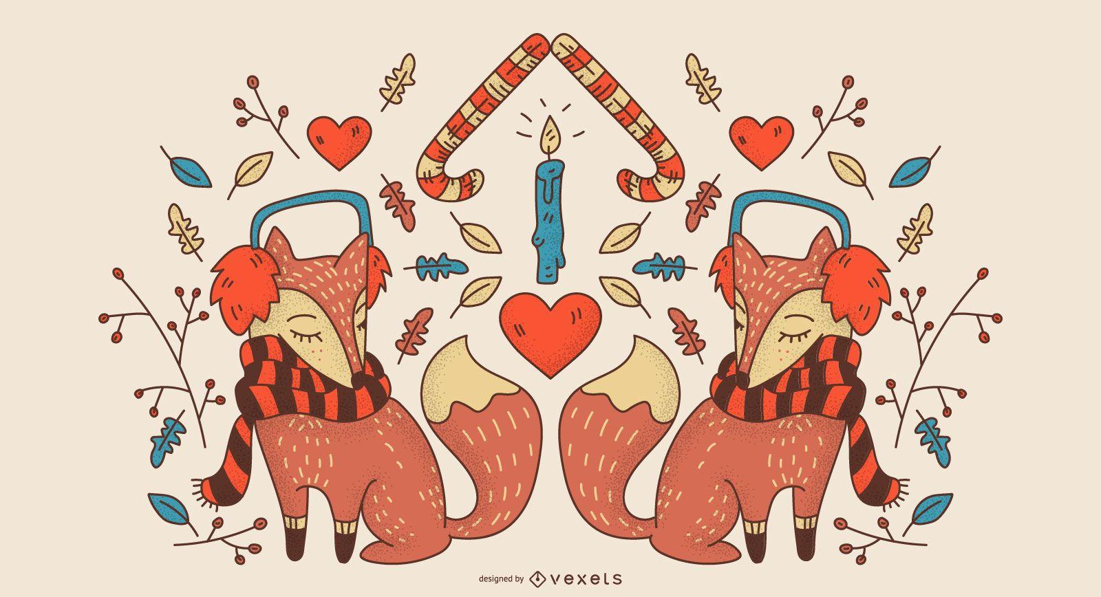 Winter fox background design