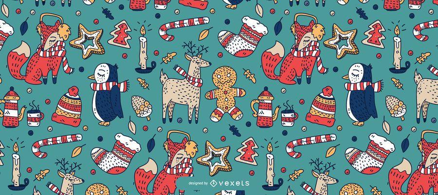 Desenho de padrão de animais de natal