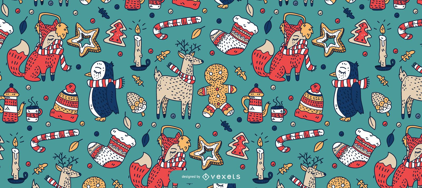 Christmas animals pattern design