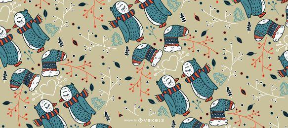 Diseño de patrón de pingüinos navideños