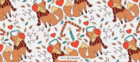 Diseño de patrón de zorro navideño