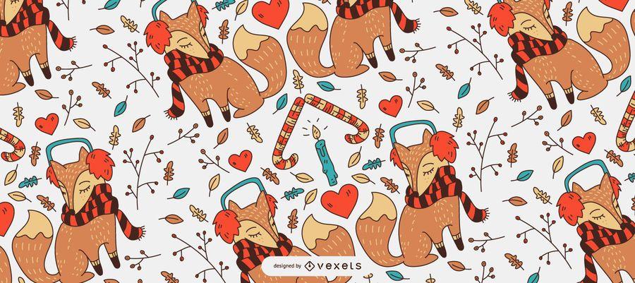 Christmas fox pattern design