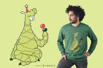 Diseño de camiseta de llama de árbol de navidad