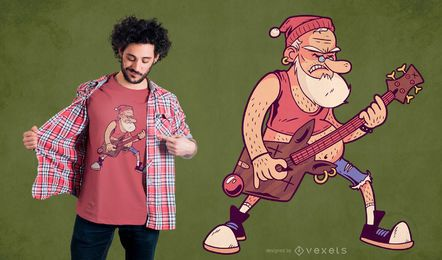 Santa Rock T-Shirt Design