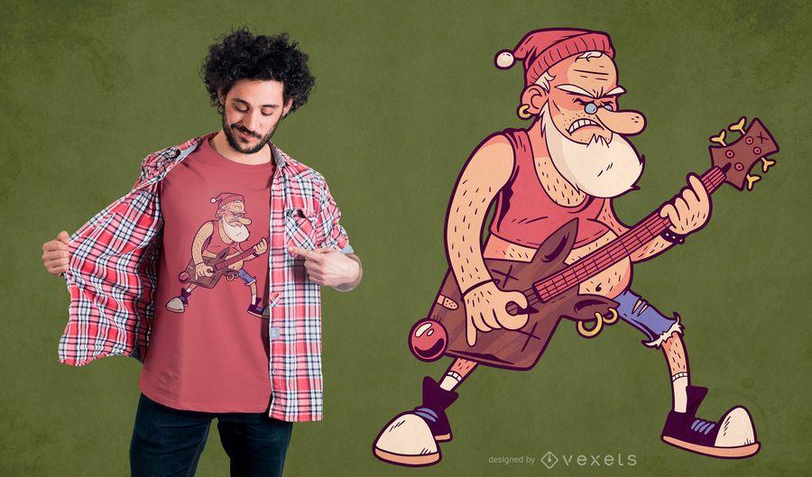 Diseño de camiseta santa rock