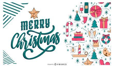 Frohe Weihnachten-Banner-Design