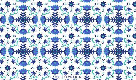 Blaues Muster mit Blumenmuster