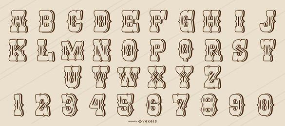 Alfabeto de traço de estilo ocidental