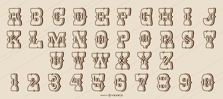 Alfabeto de trazos de estilo occidental